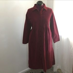 VTG Red Corduroy Maxi Dress